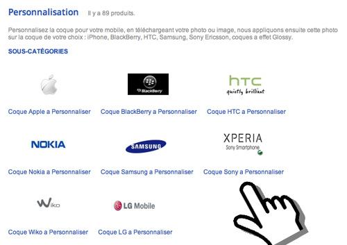 Choisissez la marque de votre smartphone pour la Personnalisation.